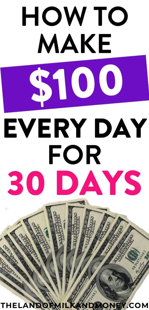 I really needed to know some creative ways to make money fast, so these ideas for how to make $100 a day make it seem so easy! Better yet, these tips mostly let me make money online so I can work from home. I can't believe I can spend a bit of my free time to make 100 dollars a day from these side hustle ideas and have so much extra money towards becoming debt free! Such great money makers which will totally improve my personal finance situation.