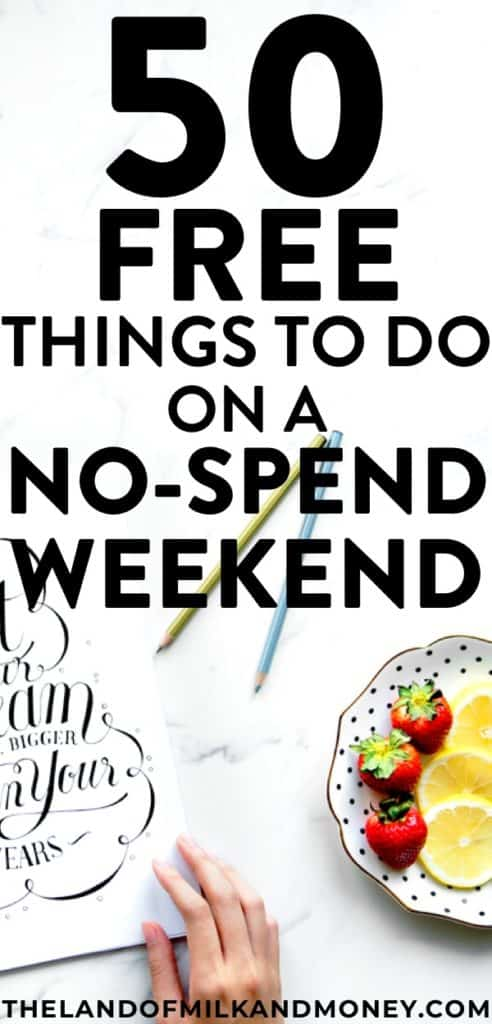 Excellent!! I SO needed some tips for saving money so these ideas of free things to do this weekend are great! It's always a challenge to think of activities on a no spend weekend with kids, with friends or even just to be at home, so it's amazing to have these 50 hacks, especially when I'm desperately trying to embrace frugal living and save money! #savemoney #weekend #financialfreedom #personalfinance #budget #frugal