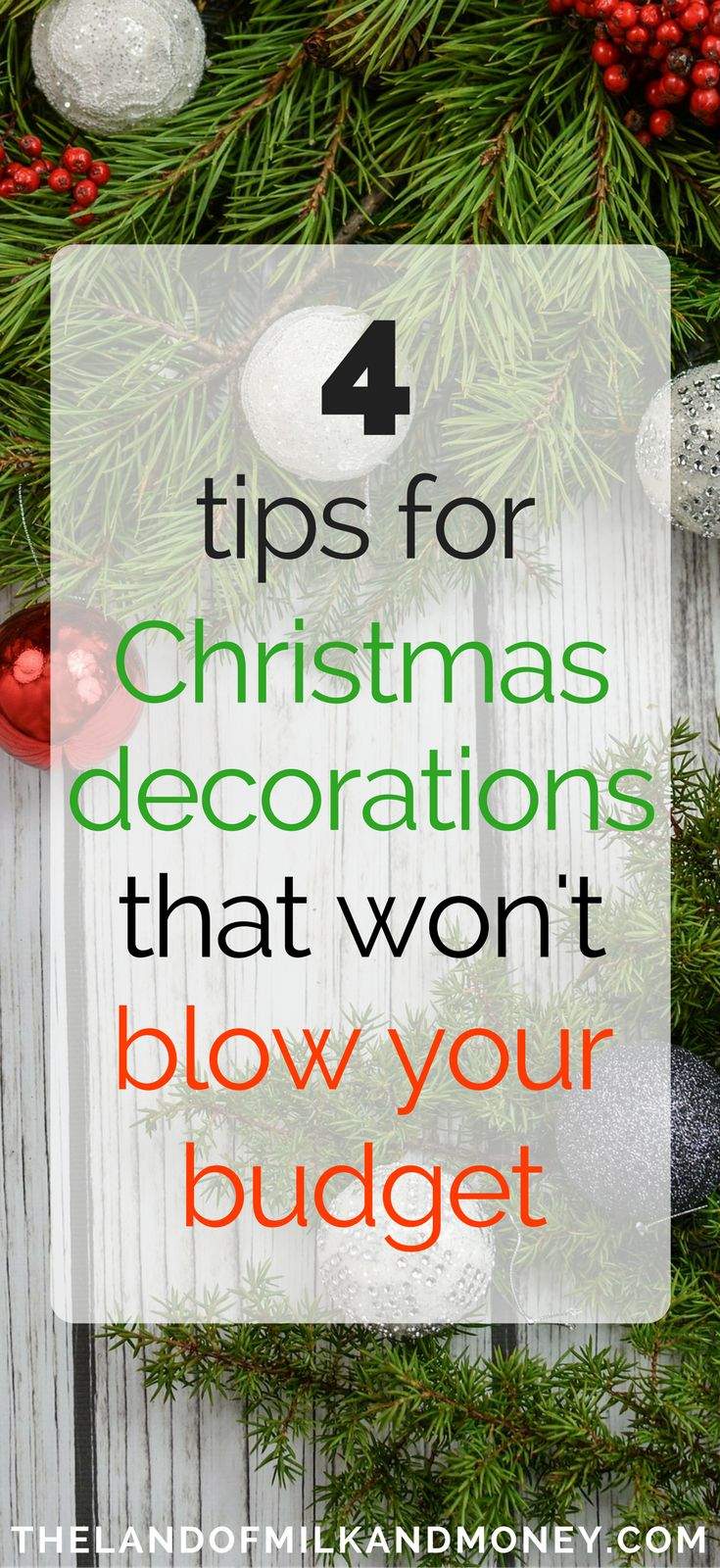 Having beautiful Christmas decor is one of the most important Christmas traditions in my family, so it's great to see how we can keep doing that while having a frugal Christmas on a budget. Christmas ornaments can get expensive but these simple ideas for Christmas decorations for the home are beautiful - while being a great money saving tip! Cheap and elegant is just what I need #christmas #holidays #frugal #savemoney